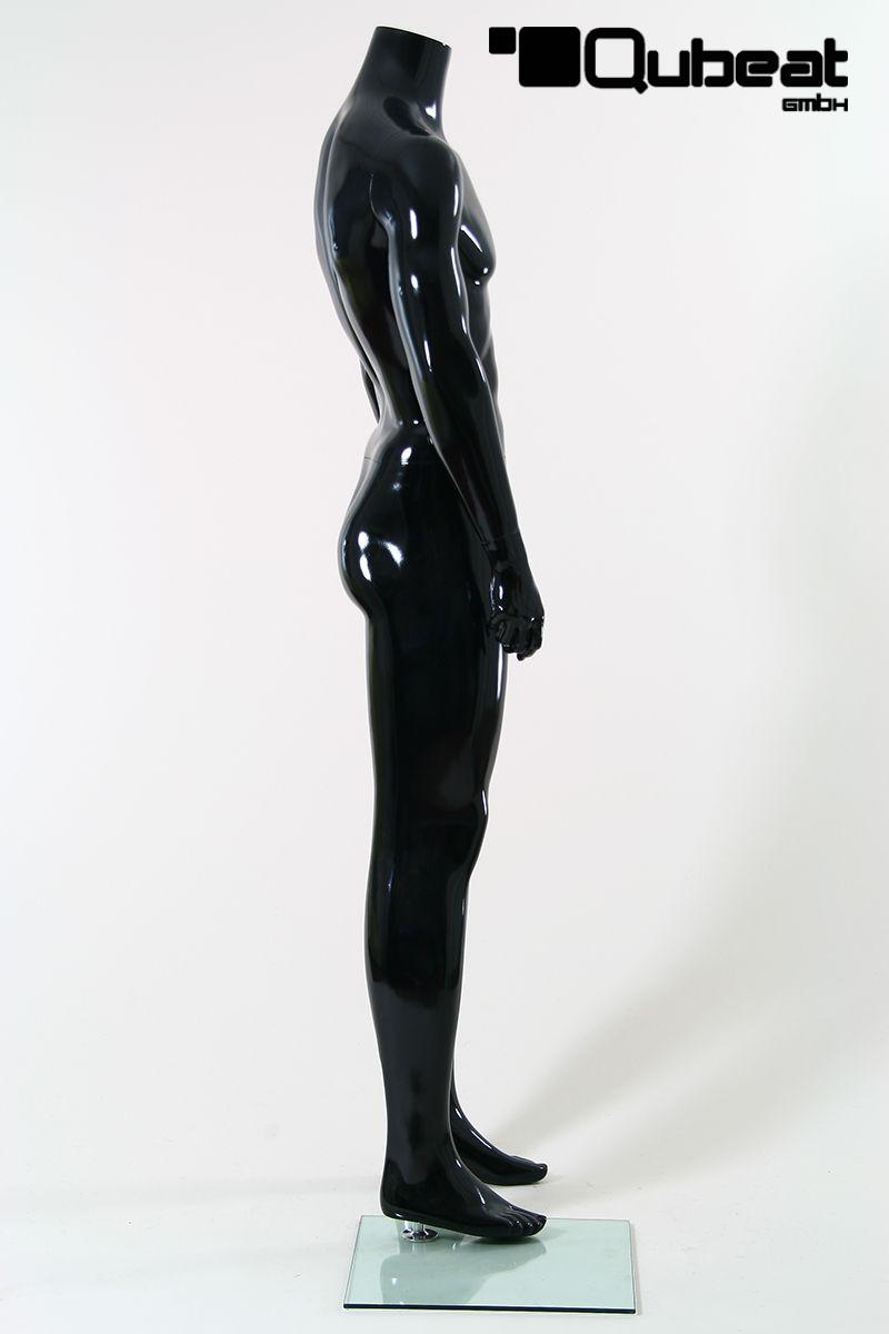 schaufensterpuppen m nnlich ohne kopf schwarz gl nzend stehend. Black Bedroom Furniture Sets. Home Design Ideas