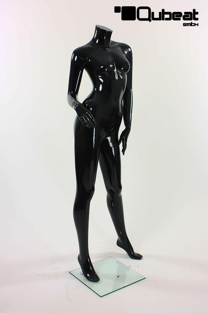 schaufensterpuppen weiblich ohne kopf schwarz gl nzend stehend. Black Bedroom Furniture Sets. Home Design Ideas